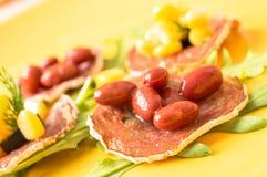 Tapas, pintxos with grilled sausages Royalty Free Stock Image