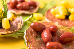 Tapas, pintxos with grilled sausages Stock Photography