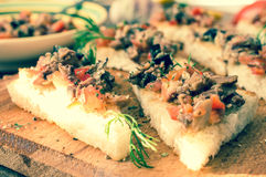 Tapas, pintxos with vegetables and fish Royalty Free Stock Images