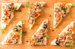 Tapas, pintxos with vegetables and fish Royalty Free Stock Photography