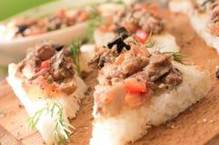 Tapas, pintxos with vegetables and fish Royalty Free Stock Photos