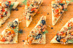 Tapas, pintxos with vegetables and fish Stock Photography