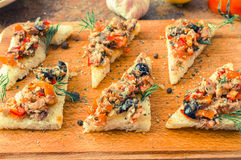 Tapas, pintxos with vegetables and fish Stock Images