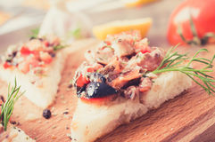 Tapas, pintxos with vegetables and fish Stock Image