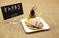 TAPAS plakatowi Świezi Hiszpańscy tapas na chlebowym baguette dymili Norweskiego łososia z masłem, ziele i cebulami czarnej oliwk obraz royalty free