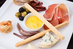 Tapas platter with ham Stock Photography