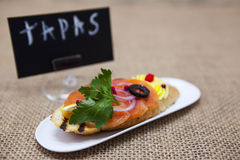 TAPAS poster . Fresh Spanish tapas on bread baguette smoked Norwegian salmon with black olive butter, herbs and onions. An excelle Stock Photos