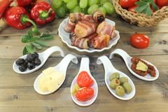 Tapas with prunes, figs and apricots Stock Image