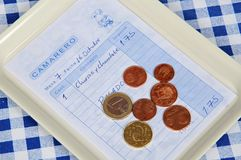 Tapas receipt with change. Stock Image