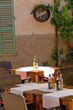 Tapas restaurant. An outdoor tapas restaurant in Alcudia on the isle of Majorca Stock Photography