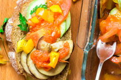 Tapas roasted vegetables and bread snack Stock Image