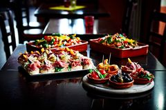 Tapas and salads at a Tapas Bar. royalty free stock photography