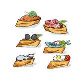 Tapas sketch vector illustration. Royalty Free Stock Photos