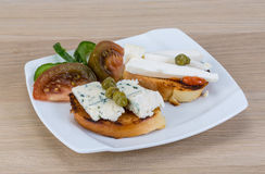 Tapas with soft cheese Royalty Free Stock Photos