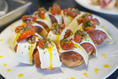 Tapas spagnoli, cucina basca, pintxos Bilbao, Spagna Fotografie Stock
