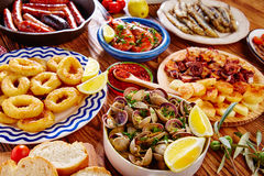 Tapas from spain mix of most popular Royalty Free Stock Image