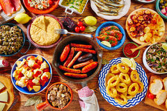 Tapas from spain mix of most popular. Tapas from spain varied mix of most popular tapa mediterranean food stock images