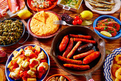 Tapas from spain mix of most popular. Tapas from spain varied mix of most popular tapa mediterranean food Stock Photo