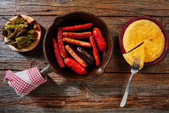 Tapas spanish potatoes omelette and sausages Royalty Free Stock Photo