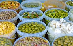 Tapas and spices for sale in a Spanish market royalty free stock image