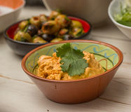 Tapas, Sweet red pepper and cream cheese mashed Royalty Free Stock Photo