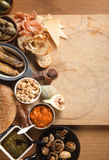Tapas on Table with Copy Space Royalty Free Stock Photography