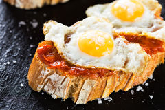 Tapas. Typical spanish food tapas: Quail eggs and sobrada of Mallorca Royalty Free Stock Photo