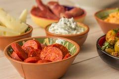 Tapas, tzatziki, manchego, chorizo, olives Stock Photo
