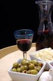 Tapas und Rotwein Stockbild