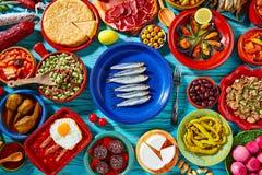 Tapas von Spanien-Mischung des Mittelmeerlebensmittels lizenzfreie stockfotos