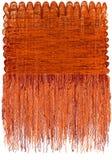 Tapeçaria decorativa com teste padrão ondulado listrado do grunge e franja macia longa na laranja, cores marrons ilustração stock