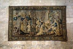 Tapeçarias de Aubusson indicadas na vida da mostra da catedral de Saint-Trophime de Godefroy de Bouillon no Jerusalém, Arles, fotografia de stock royalty free