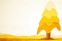 Tape Art. Arts sticky tape.Tape art tree and mountain Royalty Free Stock Images