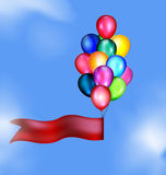 Tape and balloons in the sky Stock Photo