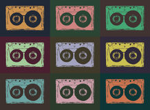 Tape casettes. Retro audio cassettes background. Vector image image Stock Photography