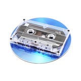 Tape Cassette and CD. Analog audio tape cassette and digital compact disk on a white background Stock Photo