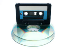 Tape cassette and digital compact disc Stock Photos