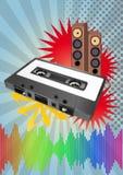 Tape cassette poster. Illustration of tape cassette with loudspeaker and vintage grafic Stock Image