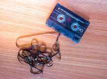 Tape cassette on wood royalty free stock photos