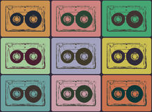 Tape cassettes. Retro audio cassettes background. Vector image image Stock Images