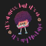 Tape Character. Mixtape Illustration. WIth Slogan. Super Afro Haircut Style. Thumbs Up Gesture. Pop Music 80s, 90s. Pink Compact Cassette Tape Character. Mixtape Stock Image