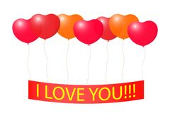 Tape with a Declaration of love on the balloons. Stock Photography