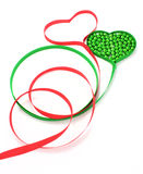 Tape hearts. On white with beads Royalty Free Stock Photography