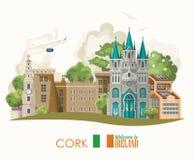 Tape la ciudad con corcho Tarjeta plana con las señales, castillo irlandés, campos verdes del diseño del vector de Irlanda libre illustration