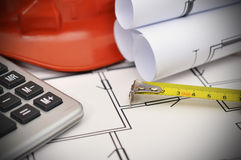 Tape line, calculator and project Stock Image