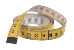 Tape measure. A single tape measure isolated on white Royalty Free Stock Image