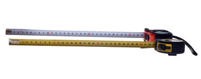 Tape Measure. One foot on a tape measure Stock Images