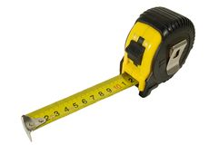 Tape-measure. A tape-measure (a tape-line) isolated on white Stock Photo