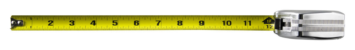 Tape Measure. Twelve inches on a tape measure. Entire tape is in focus Stock Photography