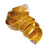Tape Measure. Yellow measuring tape isolated on white background with clipping path Royalty Free Stock Photography
